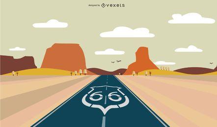 Diseño de ilustración de la ruta 66
