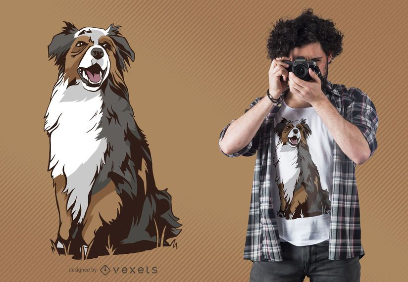 Australian shepherd dog t-shirt design