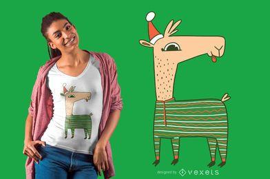 Diseño de camiseta de llama navideña