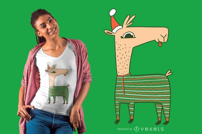 Christmas llama t-shirt design