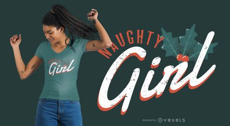 Design de t-shirt de garota safada de Natal