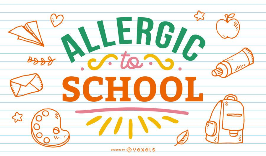 Allergic to school lettering design