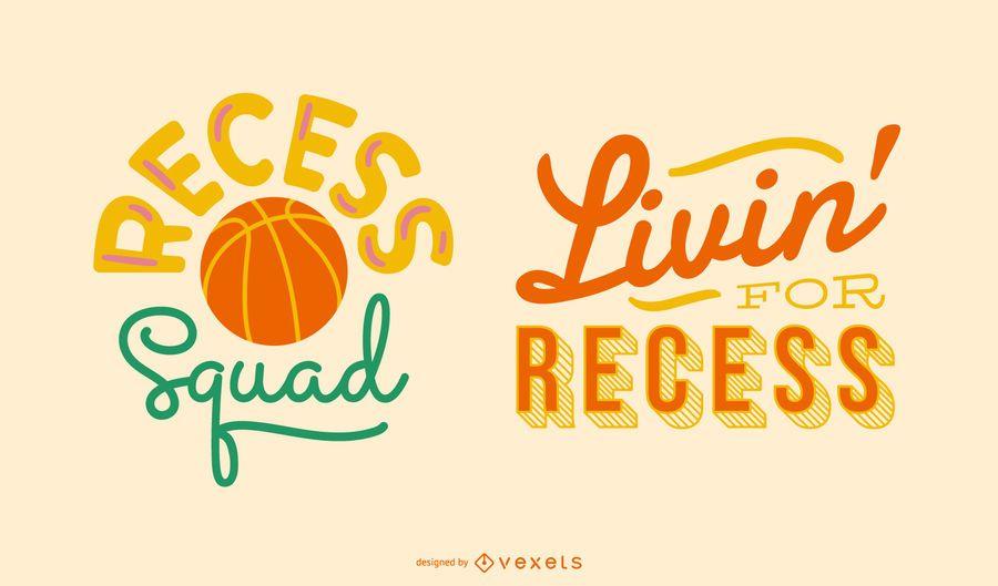 School recess lettering set