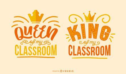 Conjunto de letras rainha rei para sala de aula