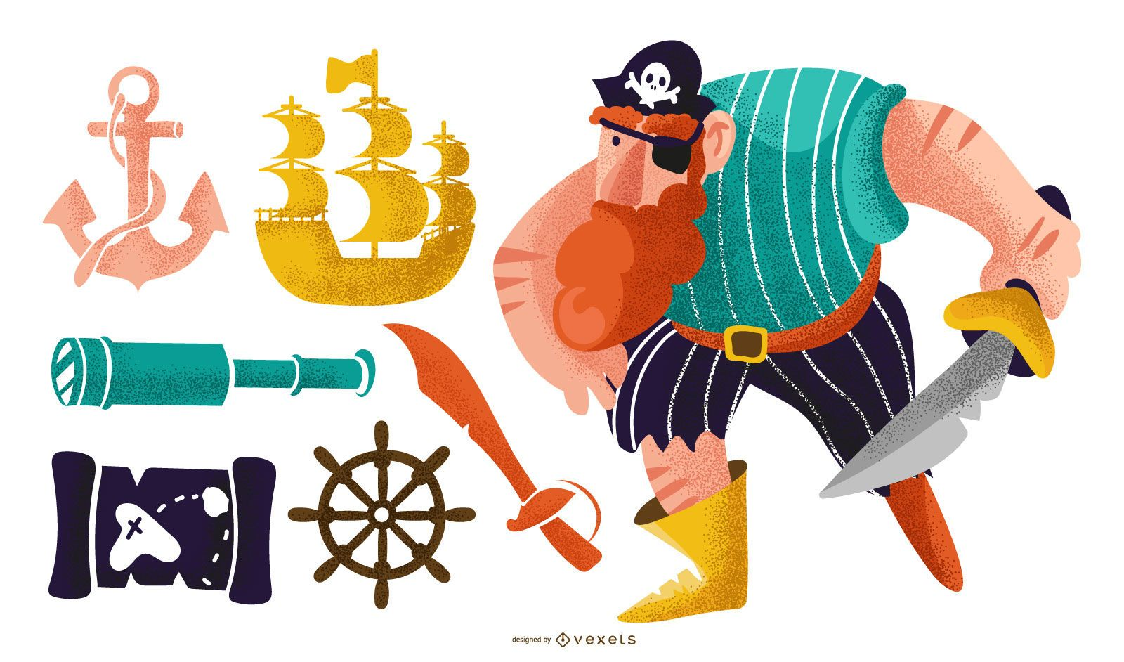 Pirate colorful vector set