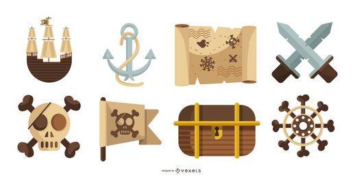 Piraten-Elemente-Vektor-Pack