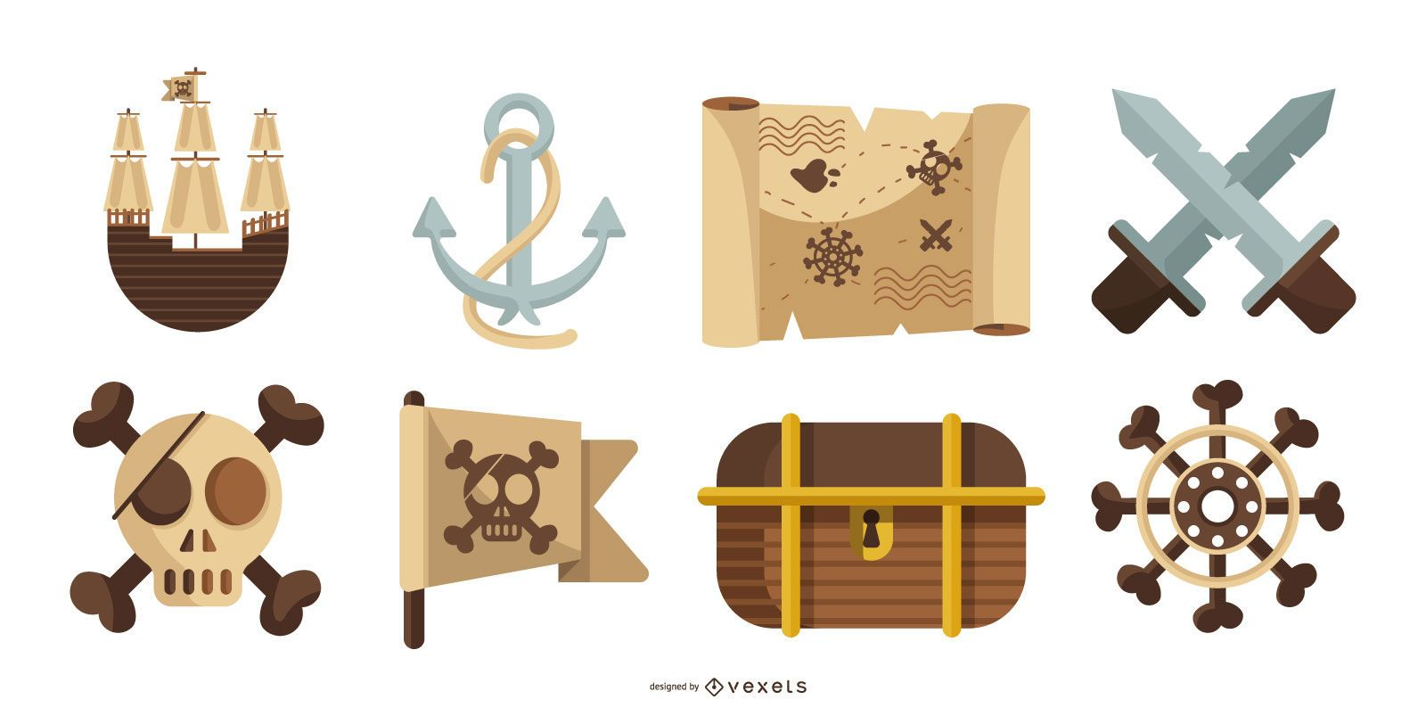 Pirate elements vector pack