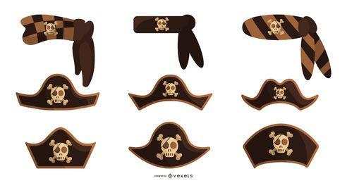 Conjunto de vetores de chapéus de pirata