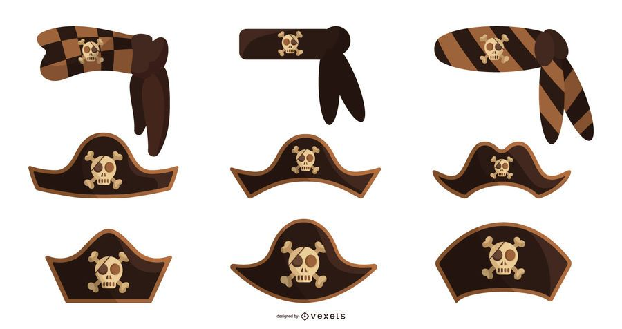 Pirate hats vector set