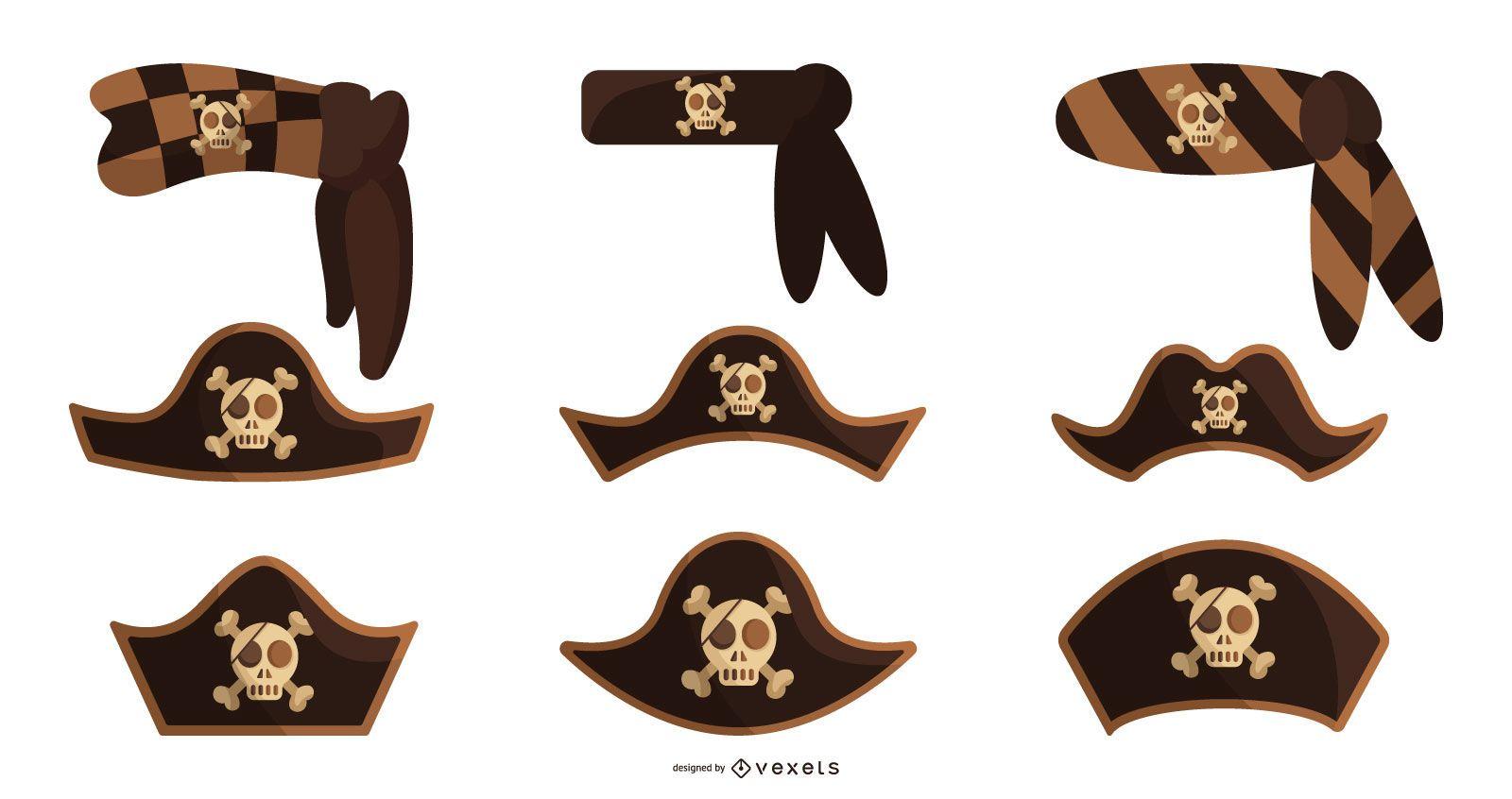 Pirate hats vector set