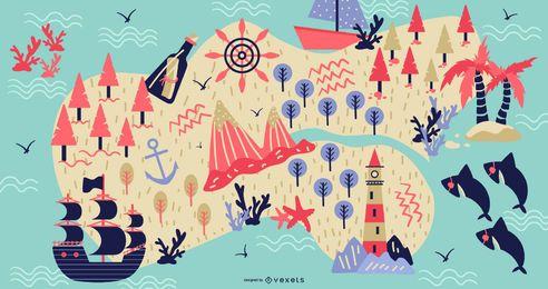 Mapa pirata hermoso diseño de ilustración