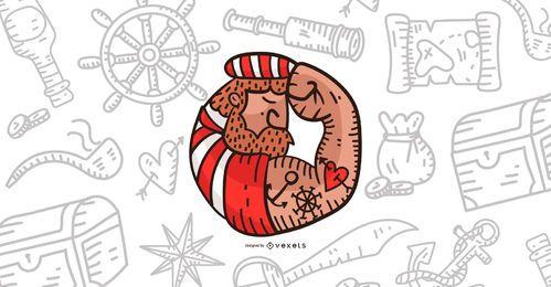 Diseño de ilustración pirata