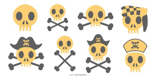 Pirate skulls vector set