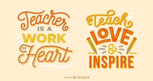 teacher quote lettering set