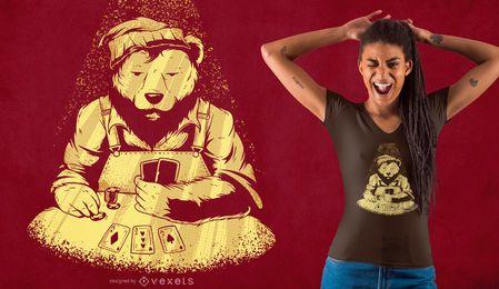 Design de camiseta de urso de pôquer