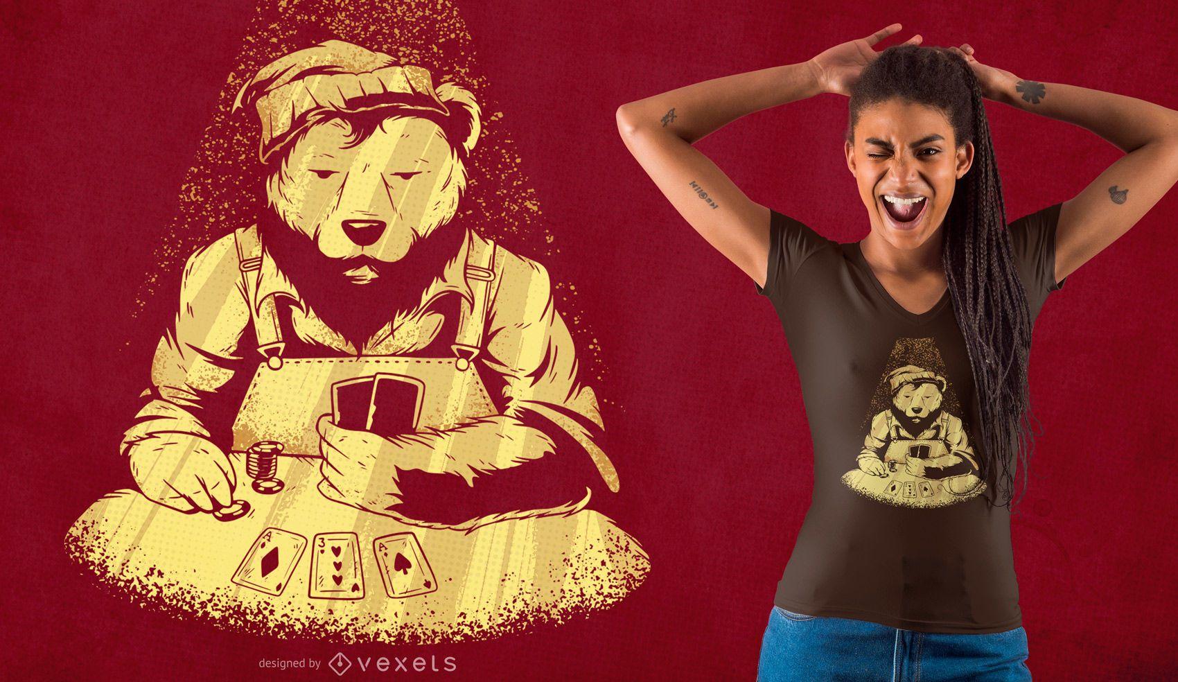 Poker bear t-shirt design