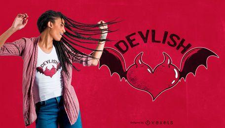 Design de camiseta com coração do diabo