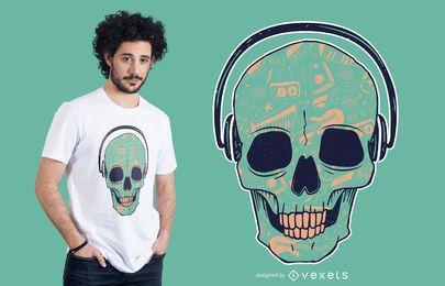 Design de t-shirt de DJ de crânio