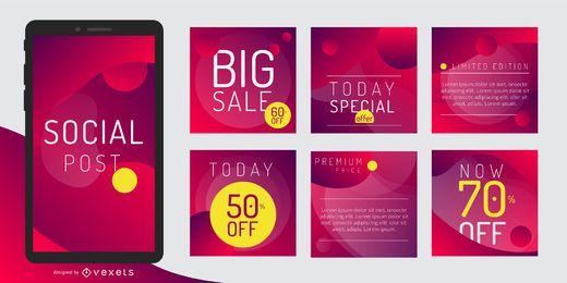 Paquete de plantillas de diseño de promoción de publicaciones sociales