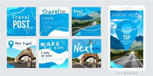 Conjunto de plantillas de viajes de publicaciones sociales