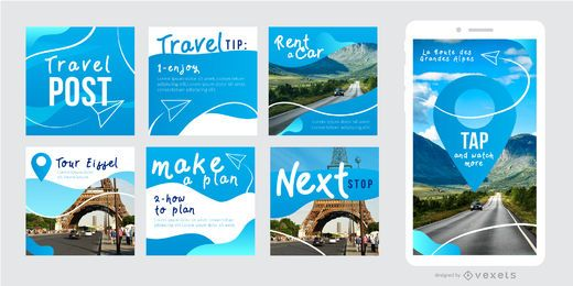 Social post travel template set