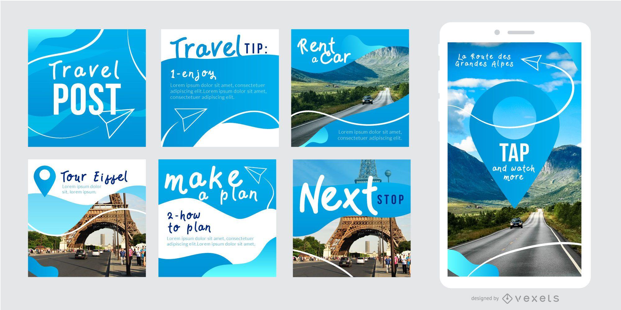 Social post travel template set