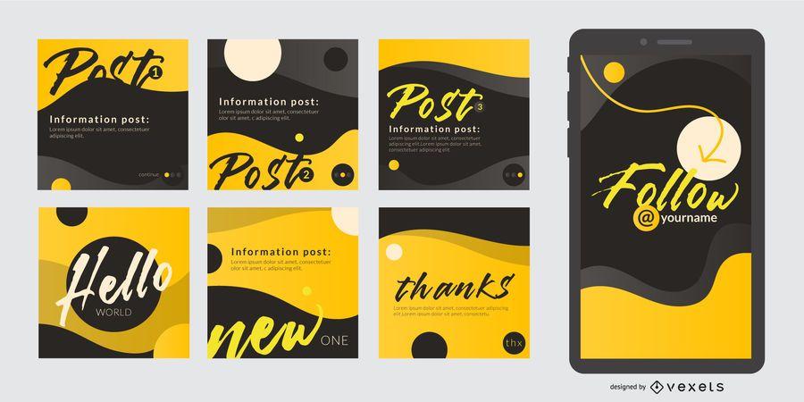Social media post abstract set