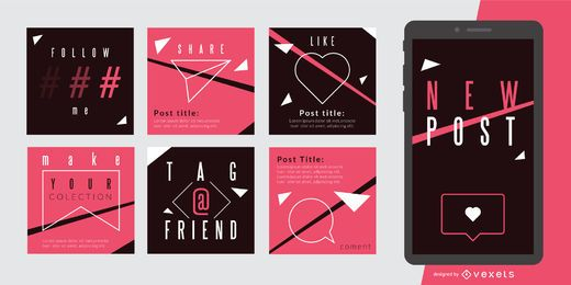 Conjunto de publicaciones de redes sociales rosa