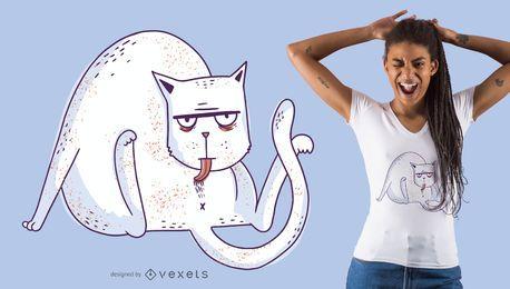 Design de t-shirt de gato lambendo
