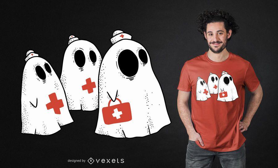 Design de t-shirt de enfermeira fantasma