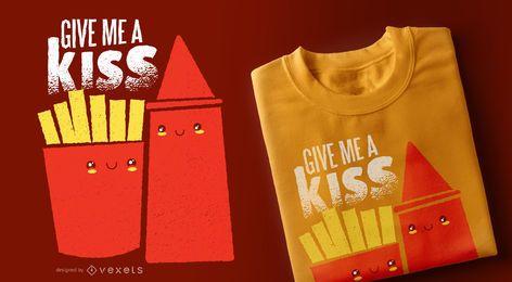 Diseño de camiseta de papas fritas ketchup kiss