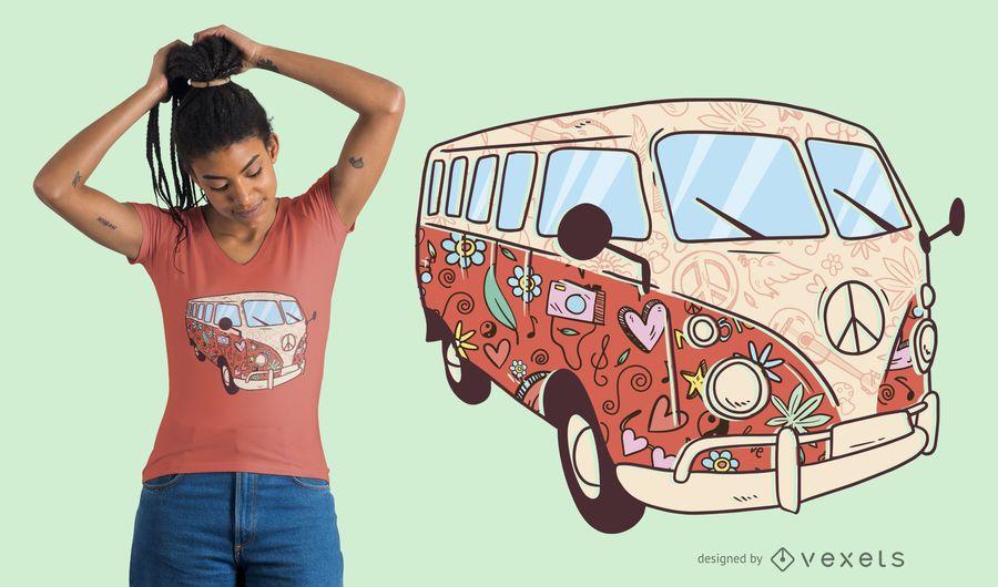 Blumenhippie-Packwagen-T-Shirt Entwurf