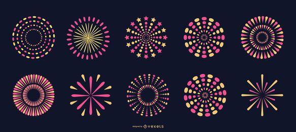 Coleção de fogos de artifício rosa brilhante