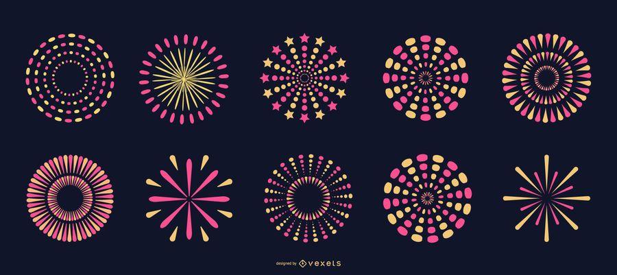 Colección de fuegos artificiales de color rosa brillante