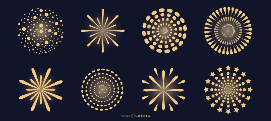 Conjunto de vectores de fuegos artificiales amarillos