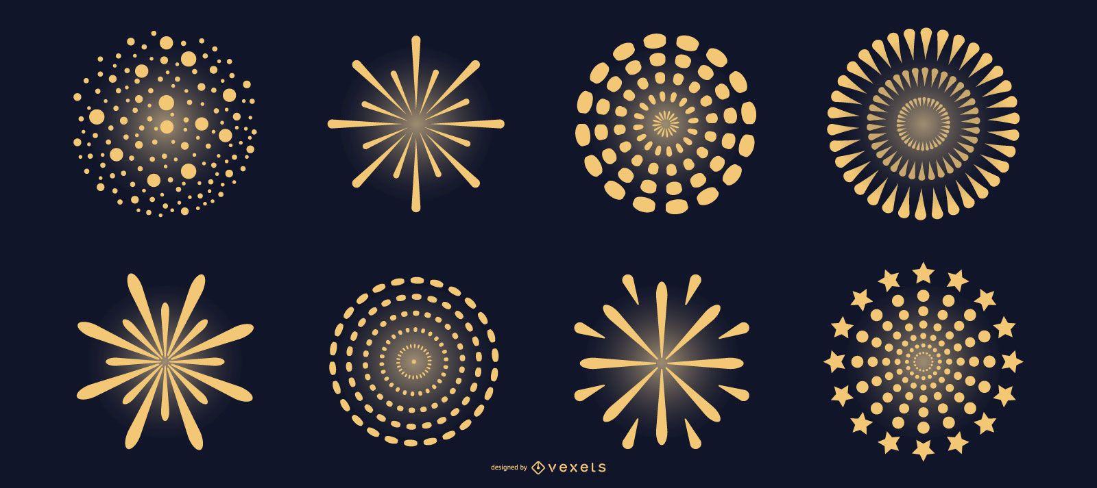 Yellow fireworks vector set