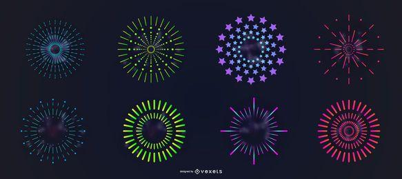 Conjunto de vectores coloridos fuegos artificiales simples