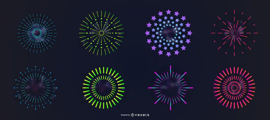 Colorful simple fireworks vector set