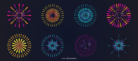 Colorful fireworks vector set