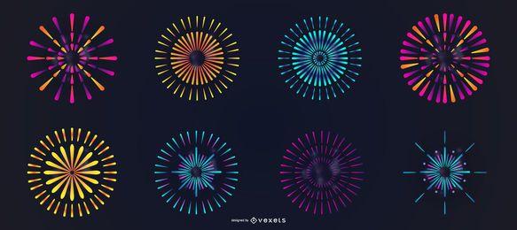 Conjunto de vectores coloridos fuegos artificiales
