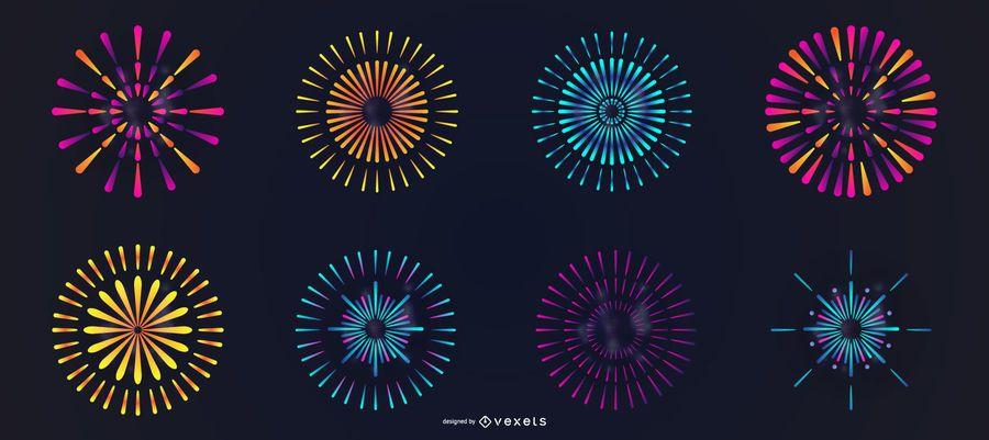 Conjunto de vetores de fogos de artifício coloridos