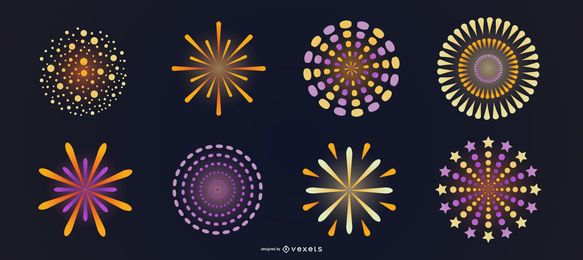 Bright fireworks vector set