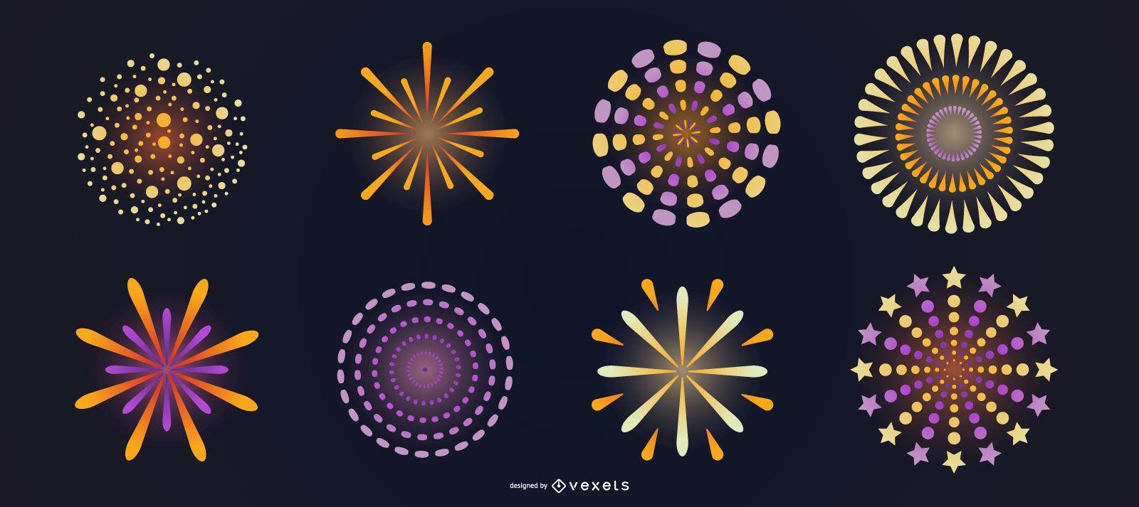 Bright fireworks vector set
