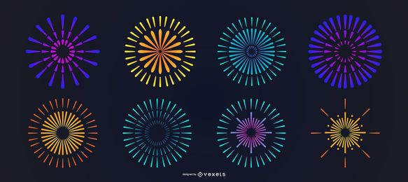 Conjunto de fuegos artificiales coloridos brillantes