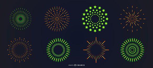 Conjunto de fuegos artificiales brillantes naranja verde