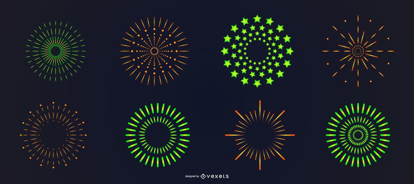 Green orange bright fireworks set