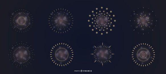Conjunto de vector de humo de fuegos artificiales