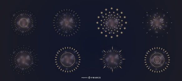 Conjunto de vetores de fumaça de fogos de artifício