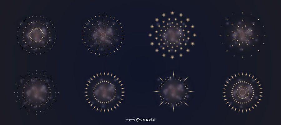 Fogos de artifício fumam conjunto de vetores