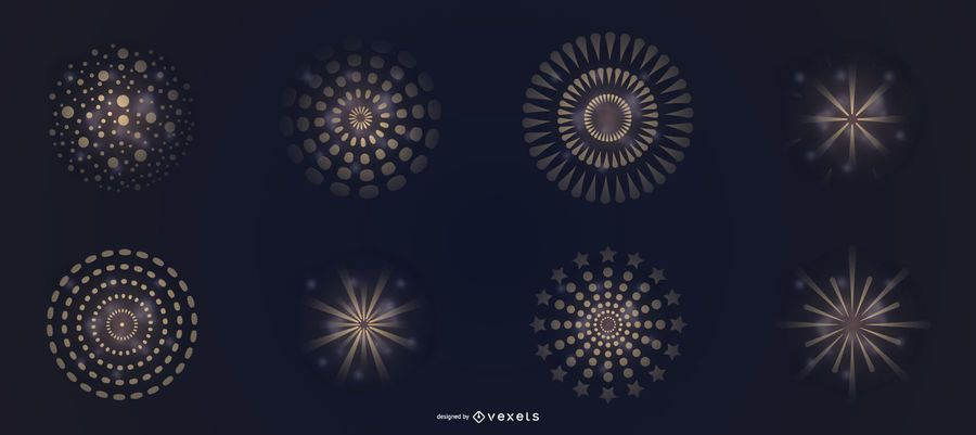 Conjunto de vectores de fuegos artificiales gradiente